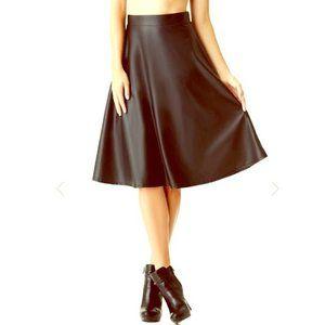 GUESS Delilah Black Faux-Leather Midi Skirt